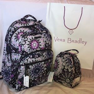 Vera Bradley Large Backpack With Lunch Box NWT